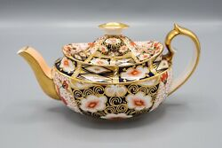 Royal Crown Derby Traditional Imari Teapot And Lid Crazing Read- Free Usa Ship