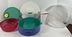 Tupperware Microsteamer Lot 6 Pieces 3065a 3066a 3067a 2649a Red Steamer Tray