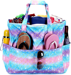 Large Beach Tote Bag for Women Waterproof Sandproof with Wet Pockets Oversized P $23.22