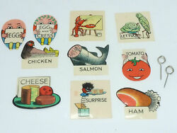 Art Deco Humorous Pictorial Set Celluloid Flag Sandwich Markers X10 Mansell's