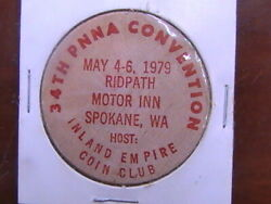 Wooden Nickel 34th Pnna Convention Spokane Was May 4-6 1979 Inland Empire Red