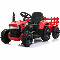 Tobbi 12v Kids Battery-powered Ride On Toy Tractor With Trailer, Red For Parts