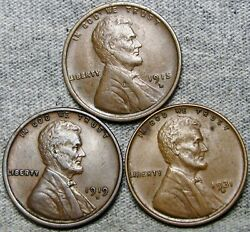1915-d 1919-d 1931-d Lincoln Cent Wheat Penny ---- Nice Lot ---- R614