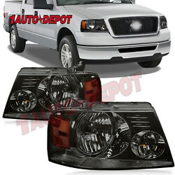Smoked Housing Amber Corner Headlights For 2004 2005 2006-2008 Ford F150 F-150