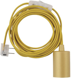 15 Feet Yellow Cloth Cord In-line On And Off Rocker Switch Mellow Socket 180