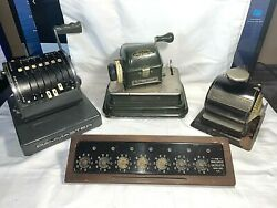 Set Of 4, Vintage/antique Business Machines, Checkwriters And Smallwood Calculator