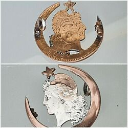 Pin Freedom Masonic, Argentina Coin Openwork Pesos 1890, Silver And Vermeil