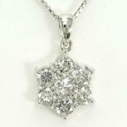 Jewelry Platinum Pt900 Pt850 Necklace Diamond 1.20 About4.6g Free Shipping Used