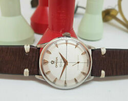 Rare Vintage 1952 Omega Geneve Sub Second Silver Dial Cal266 Man's Watch