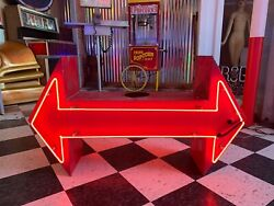 Vintage Neon Double Arrow Sign Two Sided Restored Rewired 1950s