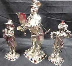 Rare Solid Silver Trio Ofjewelled Figures