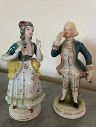 Made In Occupied Japan 2 Hand Painted Victorian Figurines Couple Ceramic China