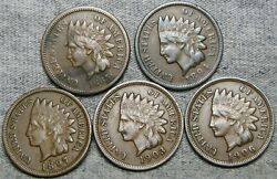 1865 1894 1897 1903 1906 Indian Cent Penny ---- Nice Lot ---- R712