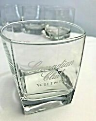 Canadian Club Whiskey Low Ball Glasses With Square Base Set Of 4 Clear Glass