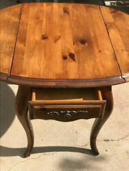 Ethan Allen Country French Drop Round Leaf End Side Table With Drawer 21-0482