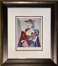 Hand Signed And Framed Pablo Picasso 1961 Vintage 60 Year Old Print With Coa