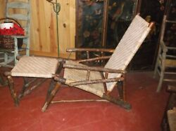 Wonderful Old Hickory Indiana Prison Made Porch Lounger Foot Rest