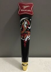 Miller High Life Lady Girl Sitting In The Crescent Moon Beer Tap Handle Mancave