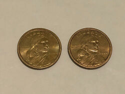 Vintage 2000 D Sacagawea One Dollar Coin Set Of 2 Two