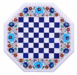 White Marble Chess Table Precious Lapis Game Turquoise Floral Inlay Decors H2389