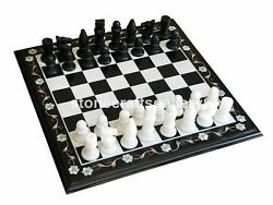 Black Marble Chess Table Top Mop Floral Inlay Art Handmade Living Room Decorates