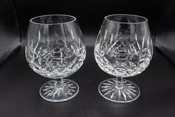 Waterford Crystal Lismore Brandy Snifter Glasses 5 1/4 H Pair Free Usa Shipping