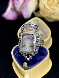 French Antique 1800's Hand Painted Portrait Ring With Gems/18k