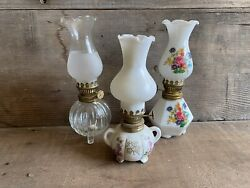 3 Vintage Clear And White With Floral Glass Mini Hurricane Oil Lamps