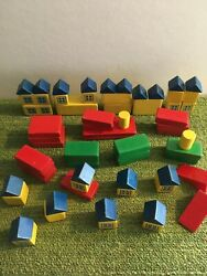 158 Vintage Wooden Toy Village And Block Pieces
