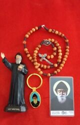 St Charbel Statue+olive Wood Rosary Necklace Handmade+key Chain+free Card Gift
