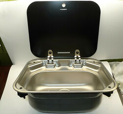 Dometic Boat Sink 9102302346   16 X 14 Inch Va8005 Stainless Glass Top