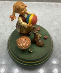 Vintage Reuge Hand-carved Wooden Music Box - Girl With Dog, The Sound Of Music