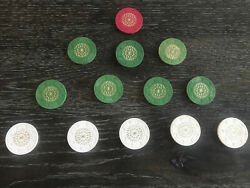 Rare Lot Of 13 Paulson Starburst Top Hat + Cane Red Green And White Clay Chips