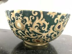 Green And Gold Tapestry Porcelain Bowl 12 Diameter