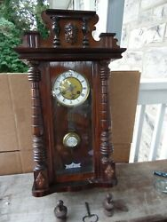Schlenker And Kienzle Antique German Wall Clock Carved Wood Case W Pendulum And Key