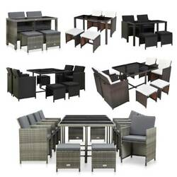 Outdoor Dining Set Patio Rattan Furniture Set Table Chair Stool Set With Cushion