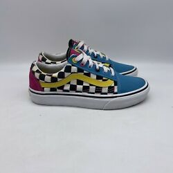 Vans Off The Wall Blue Men#x27;s Canvas Low Top Casual Lace Up Sneakers Size 4 US