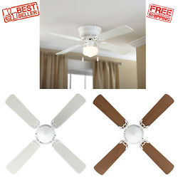 42 Quiet Ceiling Fan Hugger Indoor With Single Light White Reversible Led Bulb