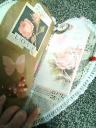 Heart Shaped Junk Journal Orig. Candy Box Lid Lots Of Pockets Writting Spaces