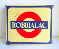 1930's Vintage Rare Robbialac Paint Double Side Ad Porcelain Enamel Sign Board