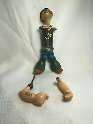 Vtg J. Chein Popeye Doll King Features Syndicate Wood Composition Jointed Repair