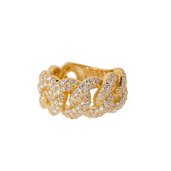 14k Yellow Gold 2.65ct Men's Diamond Cuban The Iced Out Cuban Link Ring
