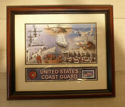 Framed Us Coast Guard Medallion / Photo With 34 Cent Veterans Stamp