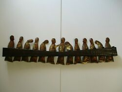 Large Vintage 1960and039s To 1970and039s Metal On Wood Sculpture Last Supper Modernism