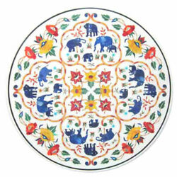 White Marble Dining Table Top Lapis Elephant Mosaic Marquetry Floral Inlay Decor