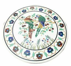 White Marble Dining Table Marquetry Bird Inlay Lapis Carnelian Kitchen Deco W011