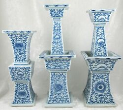3 Chinese Candle Stands Blue White Porcelain Ceremony Wedding Altar Set Antique