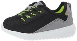 Carter's Kids Boy's Paow Mesh Athletic Sneaker With Bungee, Black, Size 0.0 Ofz2