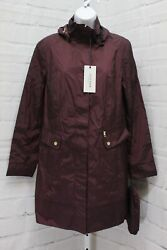Cole Haan 34 1/2 Single Breasted Rain Jacket With Removable Hood Womenand039s Size M