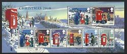Great Britain 2018 Christmas Postboxes Fine Used Miniature Sheet Without Barcode